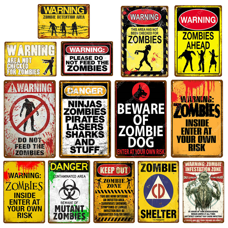 Details about  /Metal Tin Sign warning zombies Decor Bar Pub Home Vintage Retro