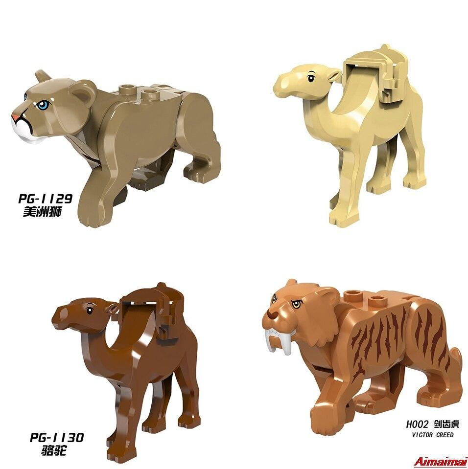 Legoings Animals lion camel saber-toothed tiger smilodon Building Bricks Enlighten Figures Toys Birthday Gifts Animal Blocks Zoo
