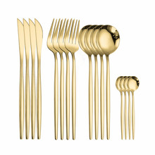 Full Tableware Stainless Steel Cutlery Fork Spoon Knife Set Gold Cutlery Set Stainless Steel Dinner Set Complete Eco Friendly