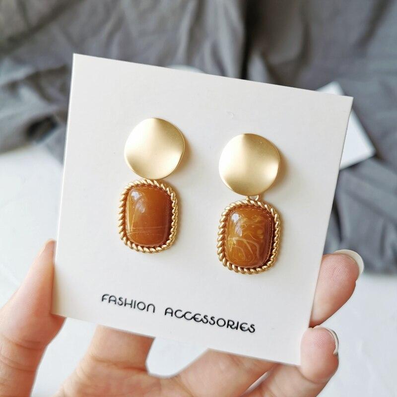 Korea earrings temperament matte metal stud earrings resin Fashion joker geometric square earrings for women banquet jewelry