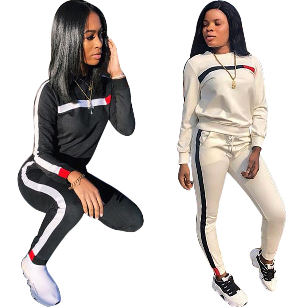 Tracksuit Women Sweatshirt Outfits Tops Femme-Set Long-Sleeve Jogging Plus-Size Casual title=