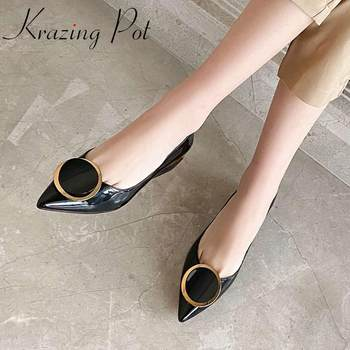 Krazing pot full grain leather pointed toe med square heel metal decoration women shoes dating slip on spring shallow pumps L3f5