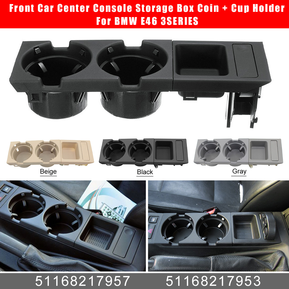 Front Center Console Holder Car Interior Center Console Cup Holder Coin Holder 51168217953 51168217957 for E46 1998-2004 Automotive Replacement Parts Black