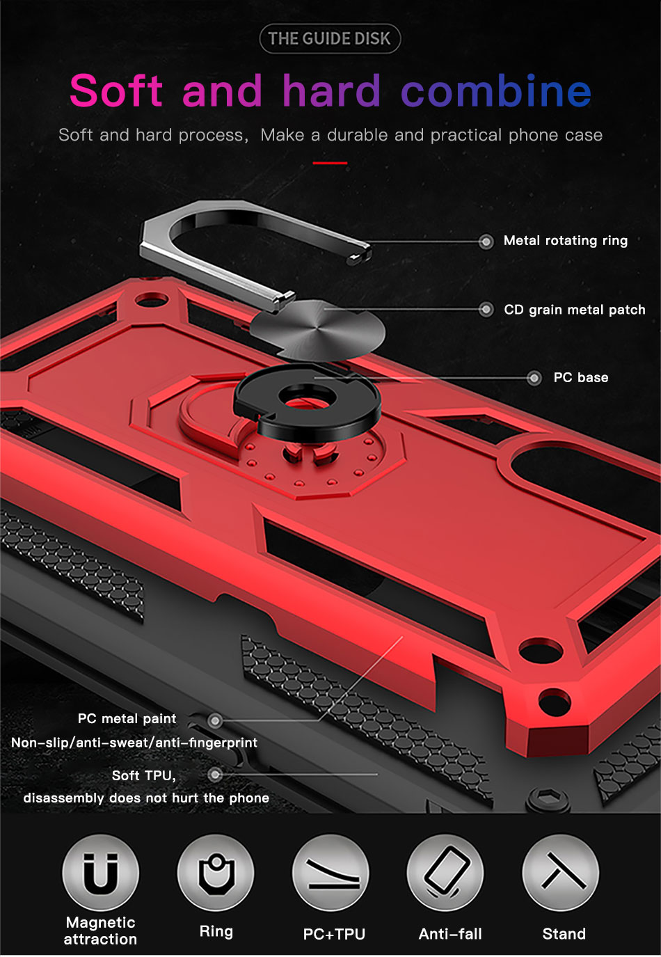 !ACCEZZ Magnetic Ring Phone Case For Xiaomi Redmi Note 7 Protection Back Cover Magnet Phone Holder For Redmi Note 7 Hard Shell (6)