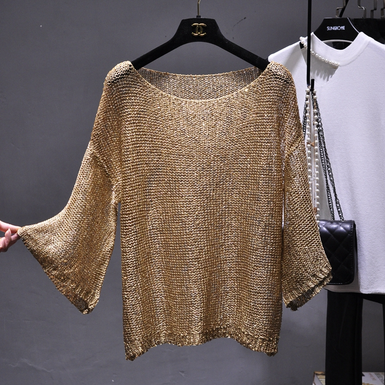 Qooth Shiny Lurex Sequin Sweater Women Long Sleeve Pullover Round Neck Golden Basic Shirt Sequin Knit Tops Jumper QH2174
