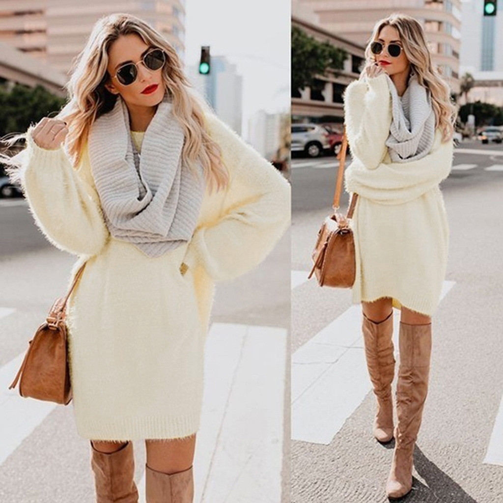 Women Winter Long Sleeve Solid Sweater Fleece Warm Basic Short