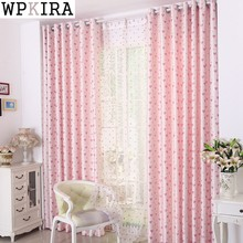 Pink Love Curtain for Girl Baby Room Cartoon Shade Drapes Sheer Fabric for Window Bedroom Treatment Tulle Curtain S171&30(China)