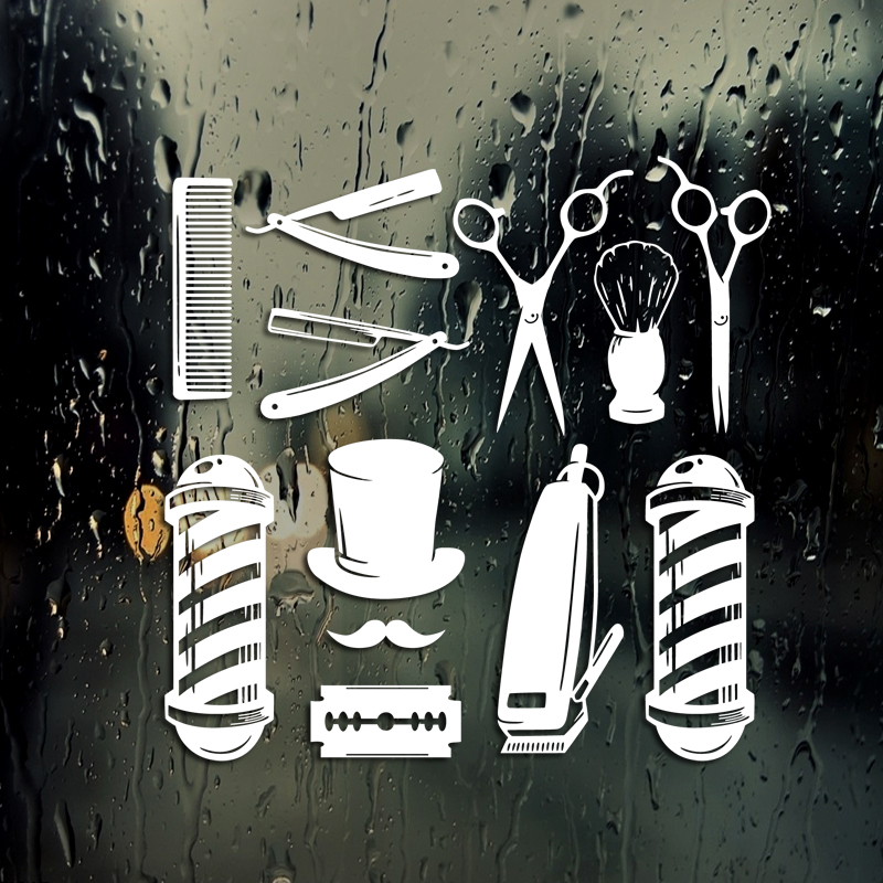 Barber Shop Sticker Chop Bread Decal Haircut Tool Shavers Posters Vinyl Wall Art Decals Decor Windows Decoration Mural