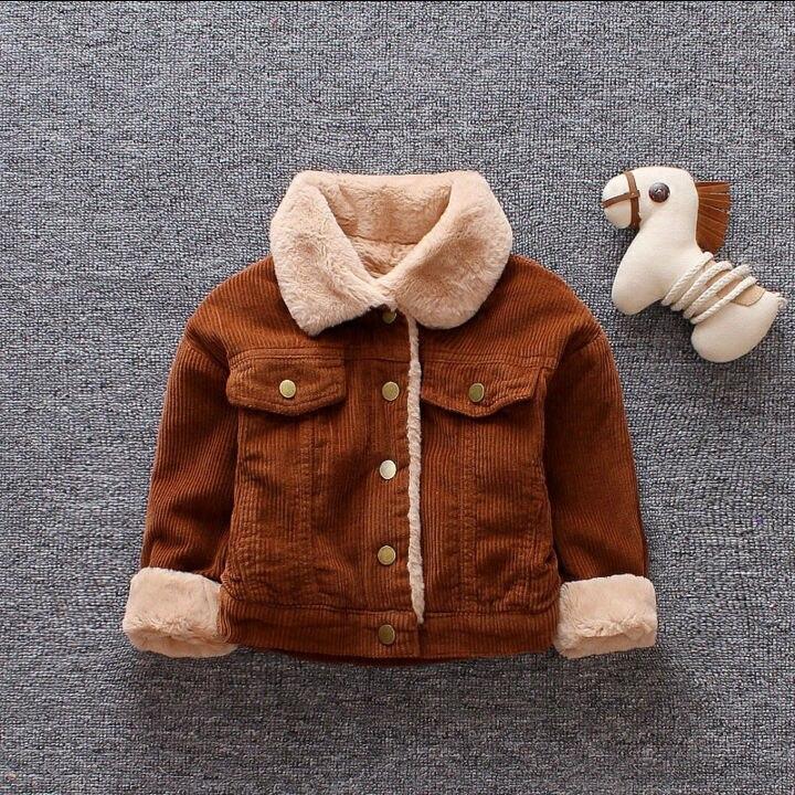 1pc baby boys girls winter thick warm fleece coat jacket corduroy outerwear