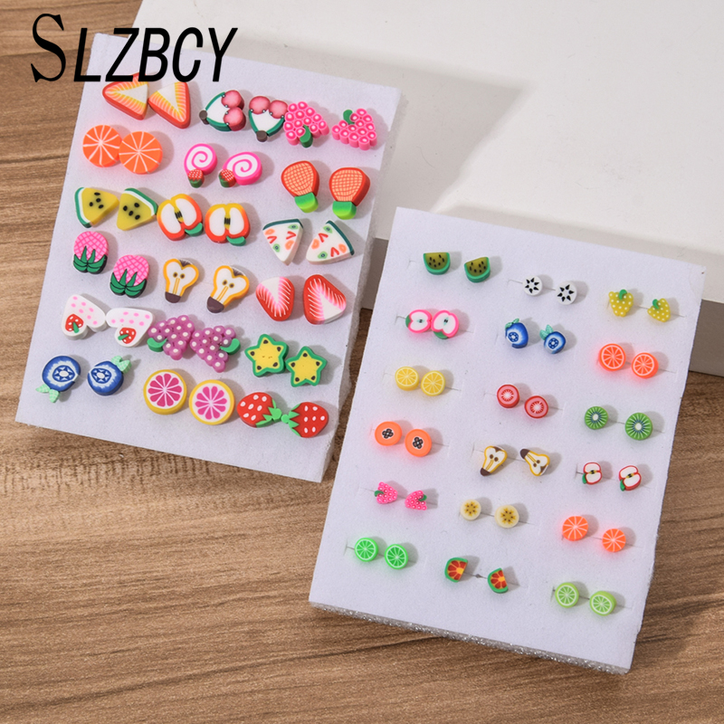 18Pairs/Set Fashion Fruit Plastic Stud Earrings Set for Women Girls Children Small Soft Clay Earrings Brinco Jewelry
