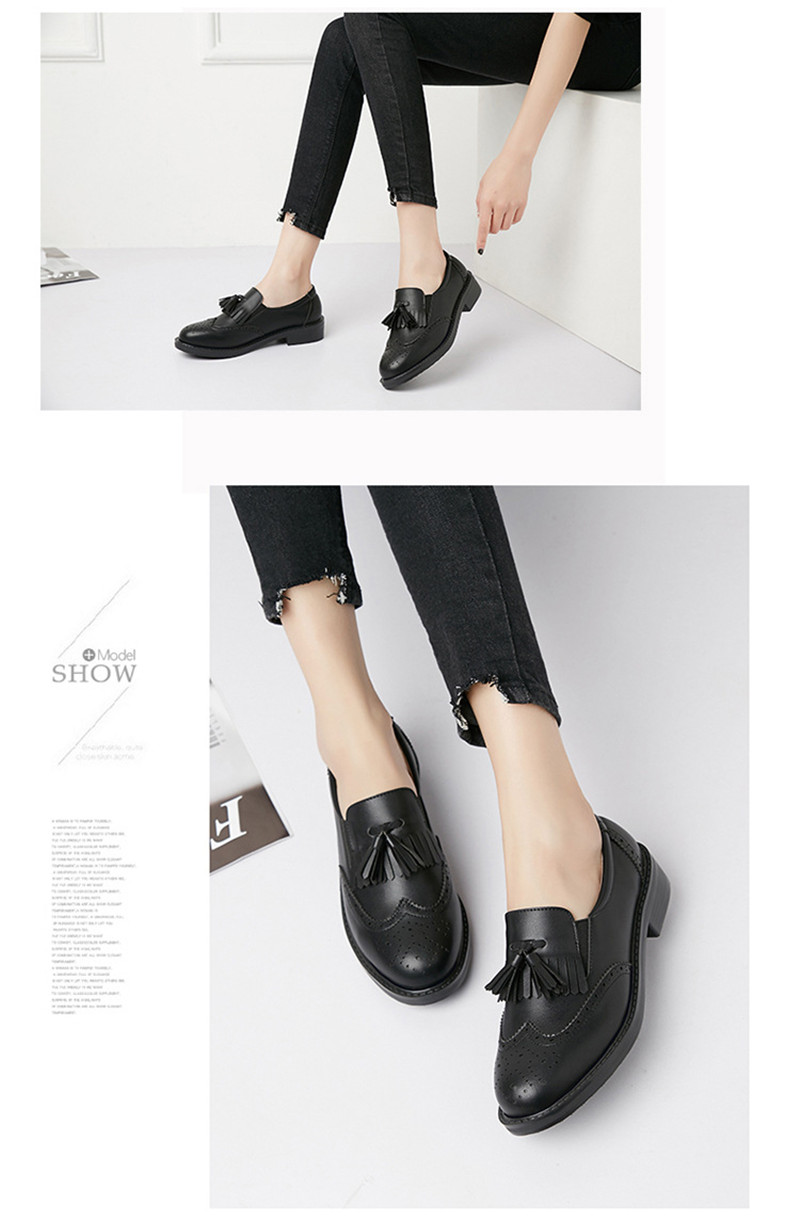 New British Carved Oxford Shoes For Woman Korean College Slip On Student Flats Brogues Shoes Retro Tassel Casual Women's Loafers (14)