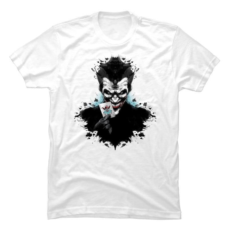 Joker_Ink_963 Crewneck T Shirts Summer/Autumn Tops Tees Short Sleeve Cute 100% Cotton Funny T-shirts Party Mens Joker_Ink_963 white