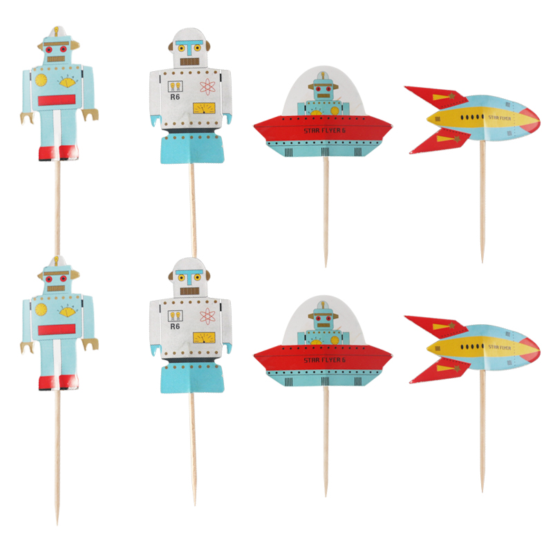 48pcs Universe Star Moon Spacecraft Rocket Astronaut Cupcake Toppers sticks Kids Birthday Party Wedding Decoration Baby Shower