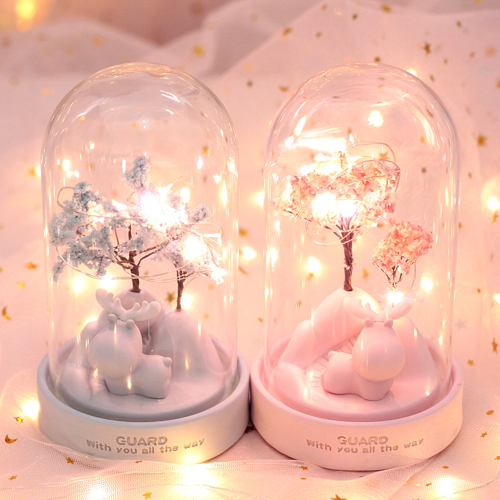 Pink Unicorn Star Cartoon Lamp Girlish Bedroom Romantic Decor Night Light Gift