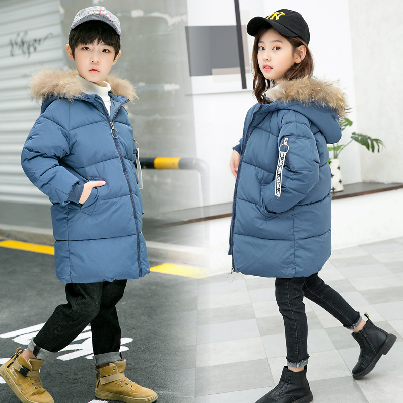 Kids Boys Girls Duck Down Jackets Winter Warm Coats Hooded Long Parka Outwear