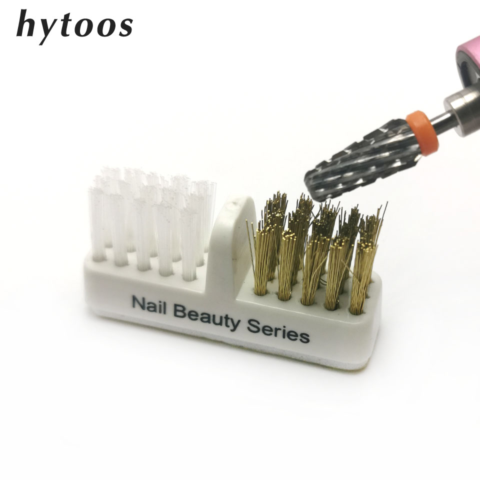 HYTOOS 1Pcs Nail Drill Bit Brush Plastic & Copper Wire Clean Brushes Dust Cleaning Nails Accessories Manicure Tools