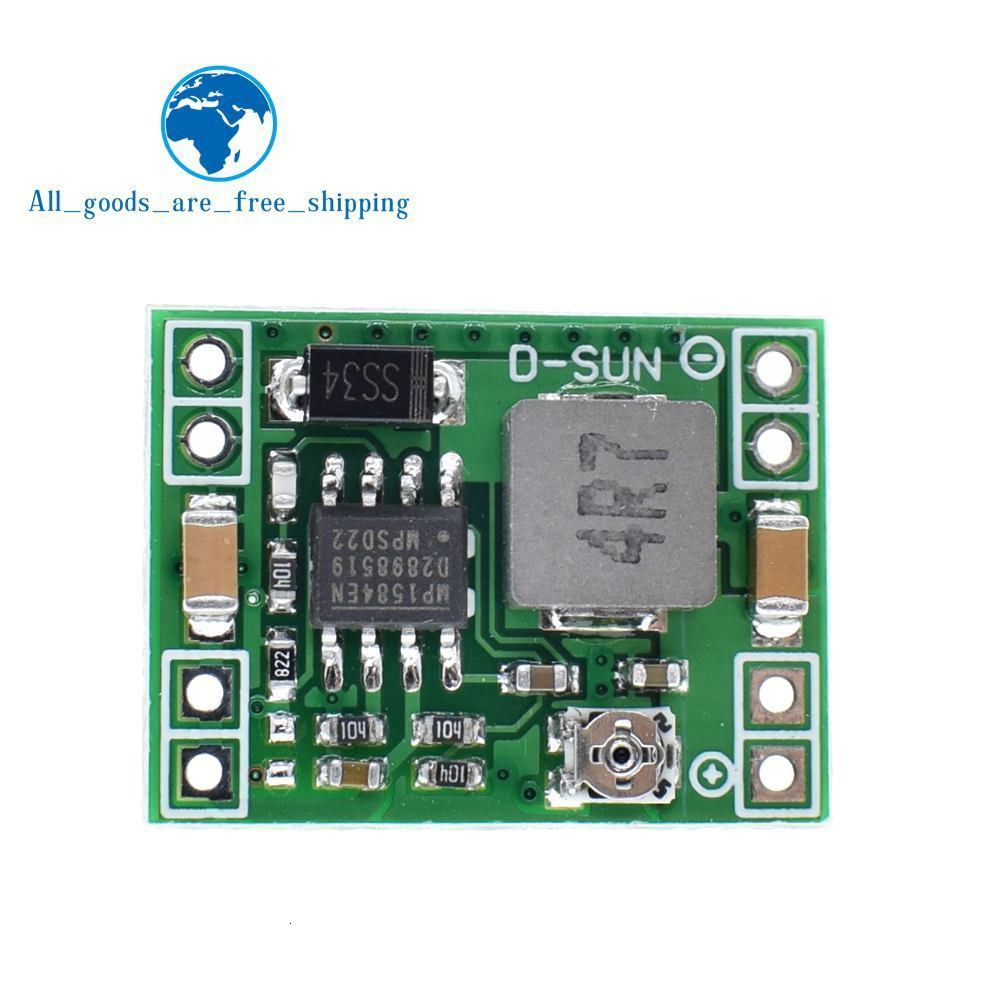 HUIMAI 100PCS Ultra-Small Size DC-DC Step Down Power Supply Module 3A Adjustable Buck Converter for Arduino Replace LM2596 CAIZHIXING