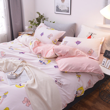 3/4pcs/set Bedding-Set Bed-Sheets Duvet-Cover Pillow King-Queen Girl Cotton Full-Twin-Size