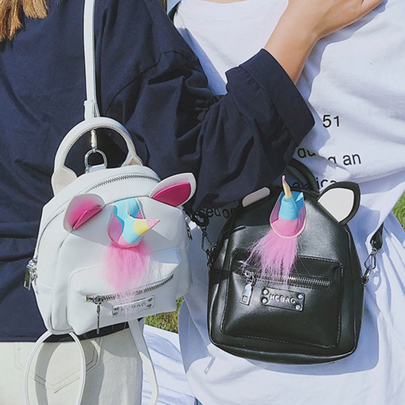 Trendy Personality Contrast Color Inkjet Unicorn Backpack Creative Cartoon Color Matching Women