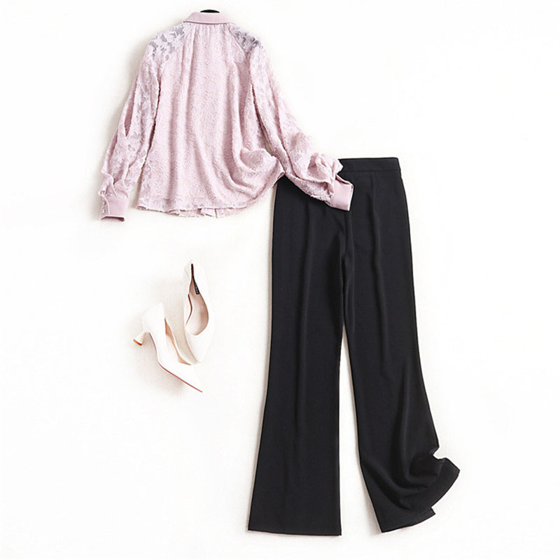 Elegant Lady Office Casual Outfits 2020 Spring Designer Women Long Sleeve Bowknot Top and Pants 2Piece Clothing Set Twinset