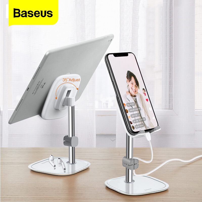 Baseus Desk Mobile Phone Holder Stand For iPhone Cell Universal Adjustable Metal Desktop Table Tablet Holder Stand For iPad Pro title=