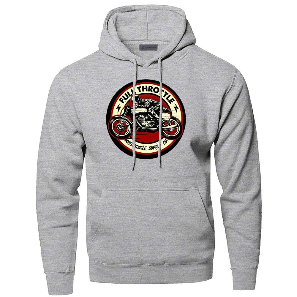 Full Throttle Cafe Racer Rockabilly Biker Sweatshirts Hoodies Men Hooded Sweatshirt Hoodie Winter Autumn Hip Hop Cool Sportswear