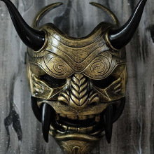 Latex Mask Headwear-Mask Halloween Costume Scary Samurai Cosplay Japanese Props Prajna