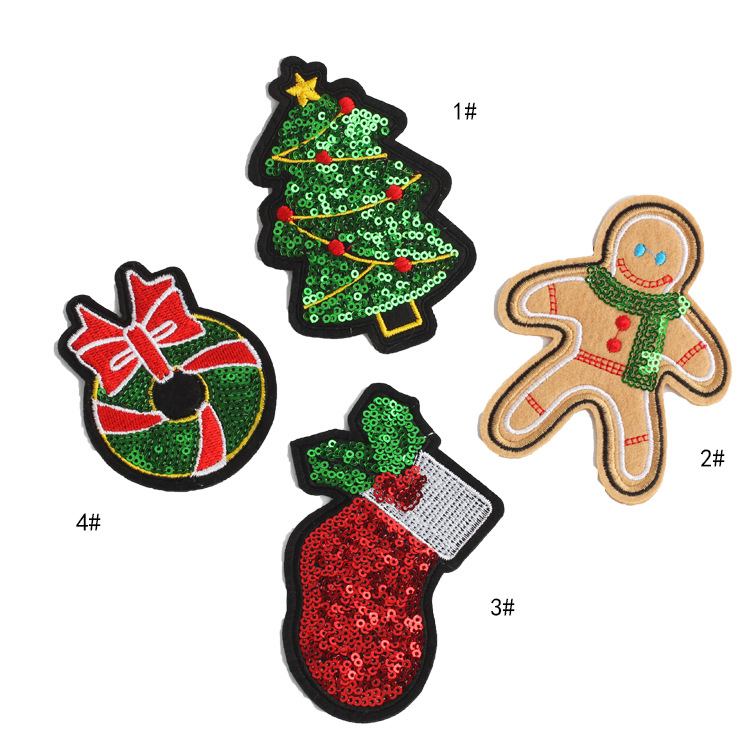 Xmas Gift Embroidered Appliques Sew Badge Christmas Stocking Iron On Patch