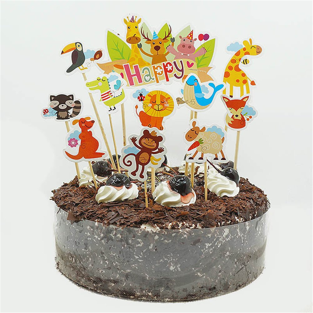 Animal Party Cupcake Picks Cases Petting Zoo Cake Toppers Kids Birthday Party Decoration Baby Shower Cake Baking Decor