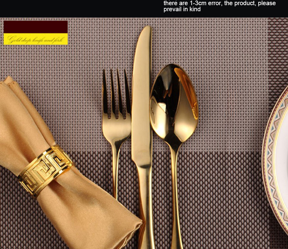 Luxury Gold Cutlery Set Stainless Steel Metal Dinnerware Set 3 Pieces Knife Fork Tableware Dining Dinner Western Food Kitchen (4)