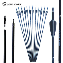 6/12/24pc 28/30/31inch 500 spine Archery Carbon Arrow Replaceable Arrow Head Archery for Compound/Recurve Bow Hunting & Practice