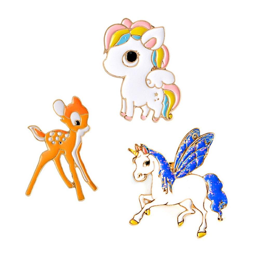 Wings Horse Deer Sika Deer Brooch Enamel Pins Buckle Coat Backpack Pins Badge Cartoon Animal Jewelry Gift For Kids