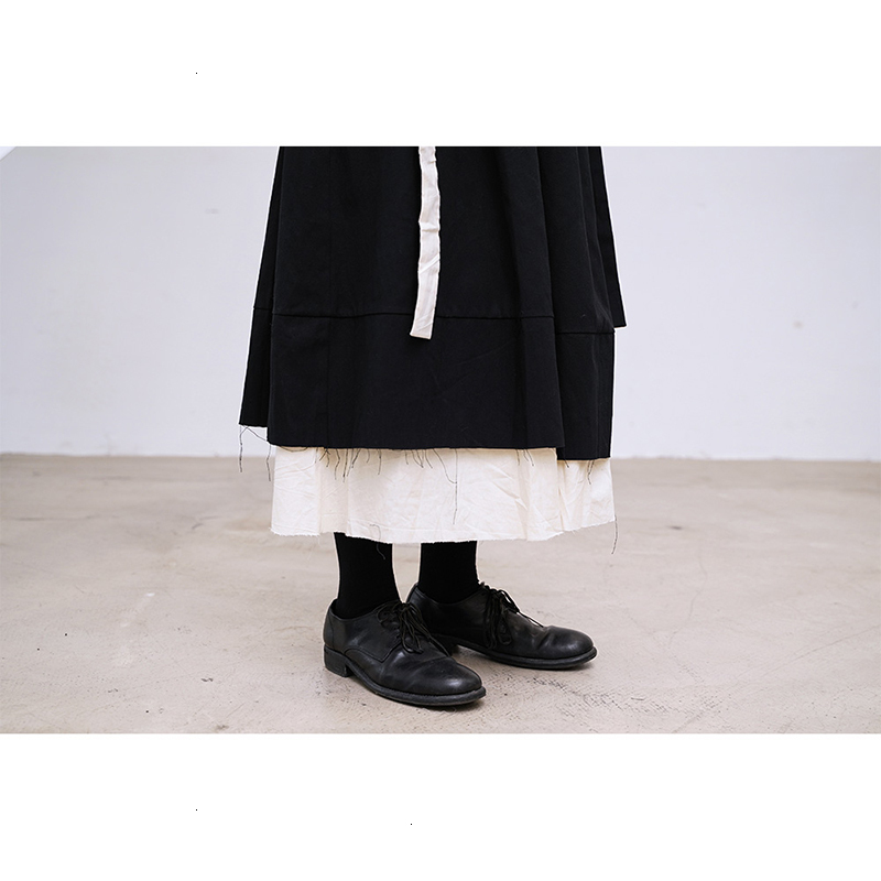 High Elastic Waist Black Double Layers Split Temperament Half-body Skirt Women Fashion Tide New Spring Autumn 2020