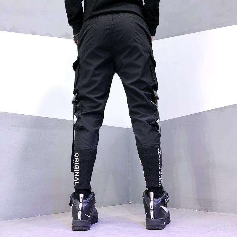 Fashion Men Hip-Hop Pants Streetwear Ribbon Men's Overalls Leisure Pocket Pants Elastic Waist Trousers Sweatpants Streetwear