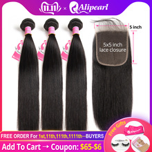 Alipearl Hair Hair-Extension Bundles Weave 5x5 Closure Natural-Color Straight with Brazilian-Hair