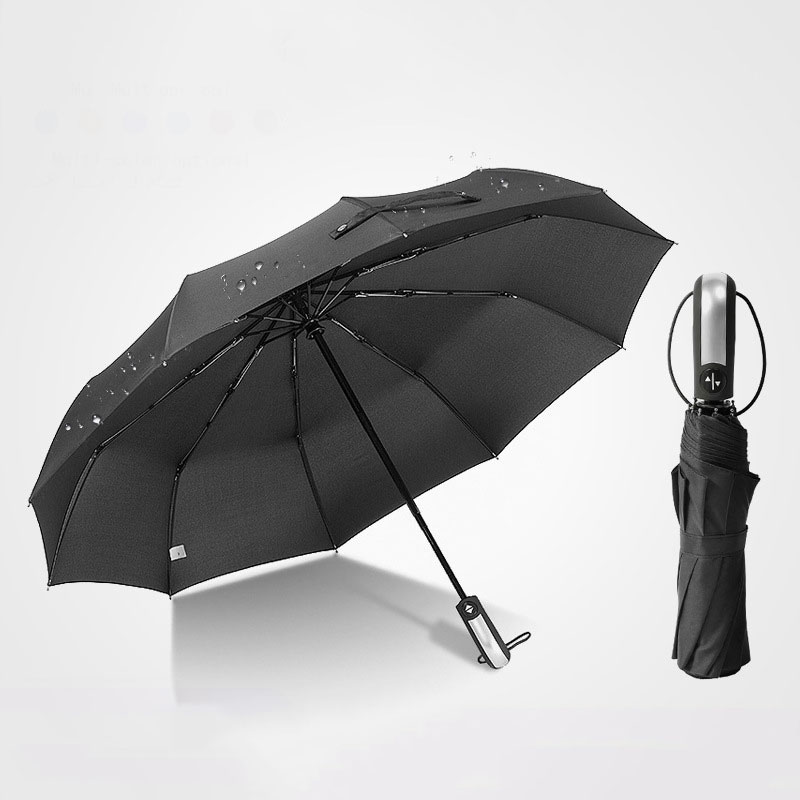 Automatic Ten-bone Folding Umbrella Reinforced Big Windproof Women 10K Parasol Pure Color Waterproof Umbrellas Rain for Men title=