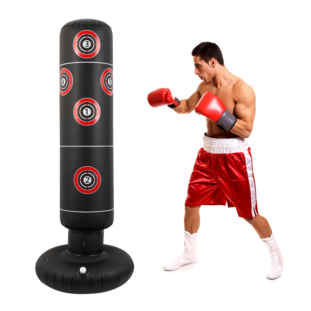 Human - 1.6M Inflatable Stress Punching Tower Bag Boxing Standing Tumbler Muay Training Pressure Relief Bounce Back Sandbag with Pump