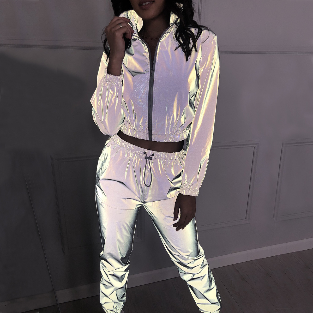 Tracksuits-Set Reflective-Jacket Long-Pants Zipper Shine Fashion Ladies 2piece Women title=