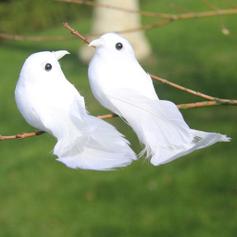 2pcs White Doves Feather Artificial Foam Lover Peace Doves Bird Home Decor Simulation Figurines Miniatures Imitation Bird Model