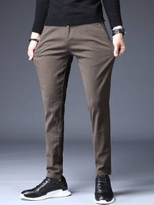 Jantour Men Pants Trousers Business Classic Brown Winter Casual Fashion Brand Thick Straight