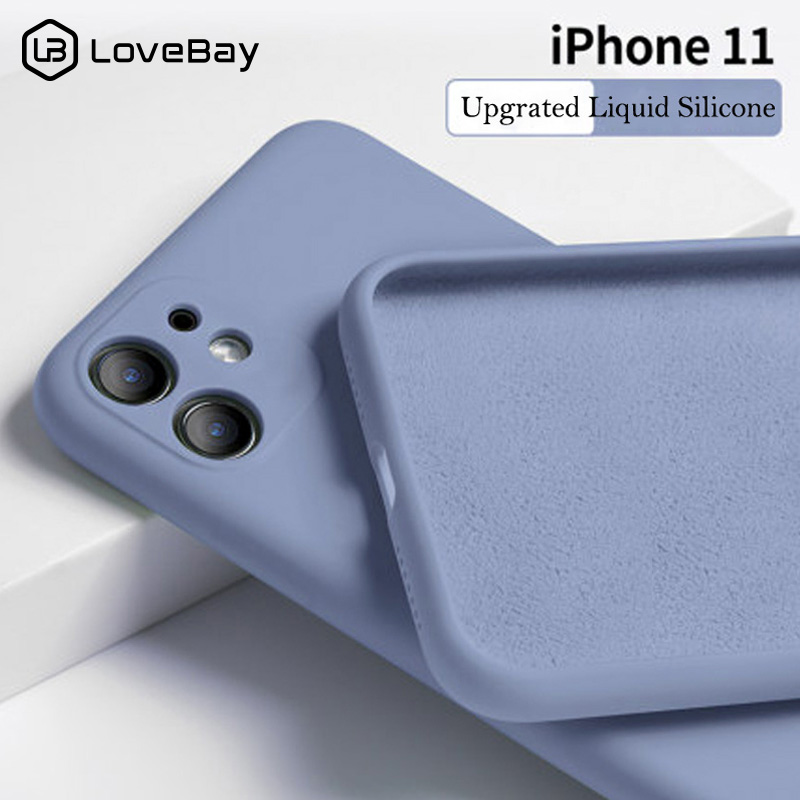 Lovebay Phone-Case Shell Back-Cover Liquid Silicone Plain Candy-Color 11-Pro for Solid title=