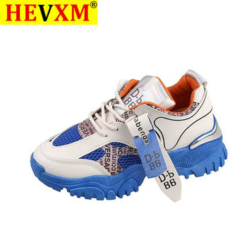 HEVXM Genuine Leather Women's Platform Sneakers 2020 Fashion Mesh Breathable Women Chunky Shoes Ladies Trainers  Footwear