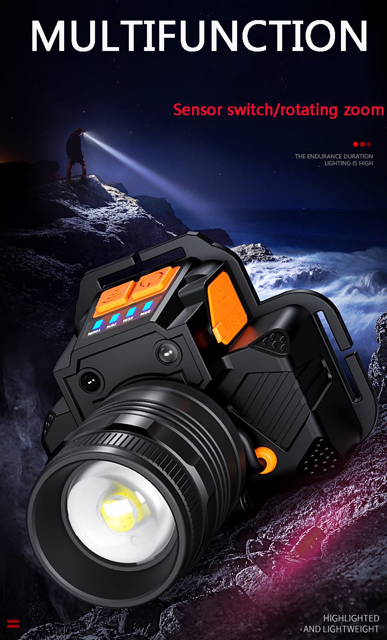 Lampe frontale Led rechargeable avec Zoom et Power Bank
