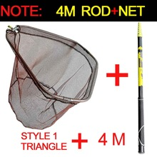 Fishing-Net Telescopic-Pole-Handle Durable-Mesh Collapsible JOSBY 3m 4m High-Quality
