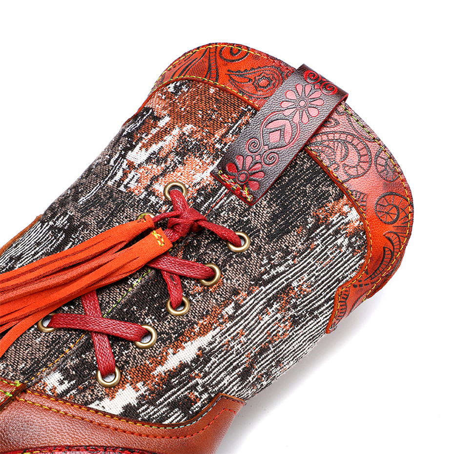 New Genuine Leather Fine Printed Ladies Shoes Ankle Boots Vintage Handmade Chunky Heel Embroidery Western Boots Shoes For Woman  (4)