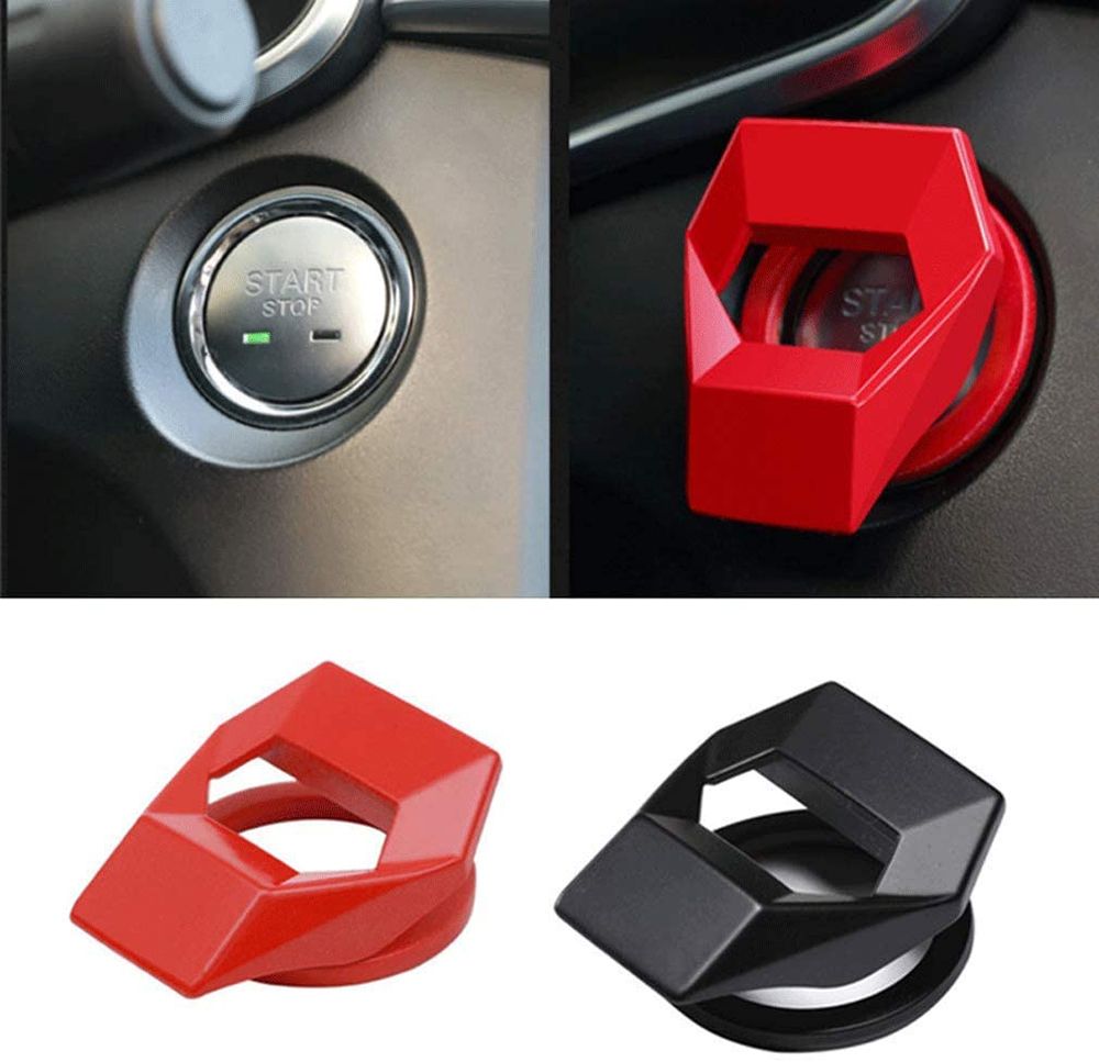 Universal Anti-Scratch Auto Engine Start Stop Switch Protective Cap,Car Start Button Protector Case,180/° flip 2020 Car Start Button Cover Aluminum Alloy Material