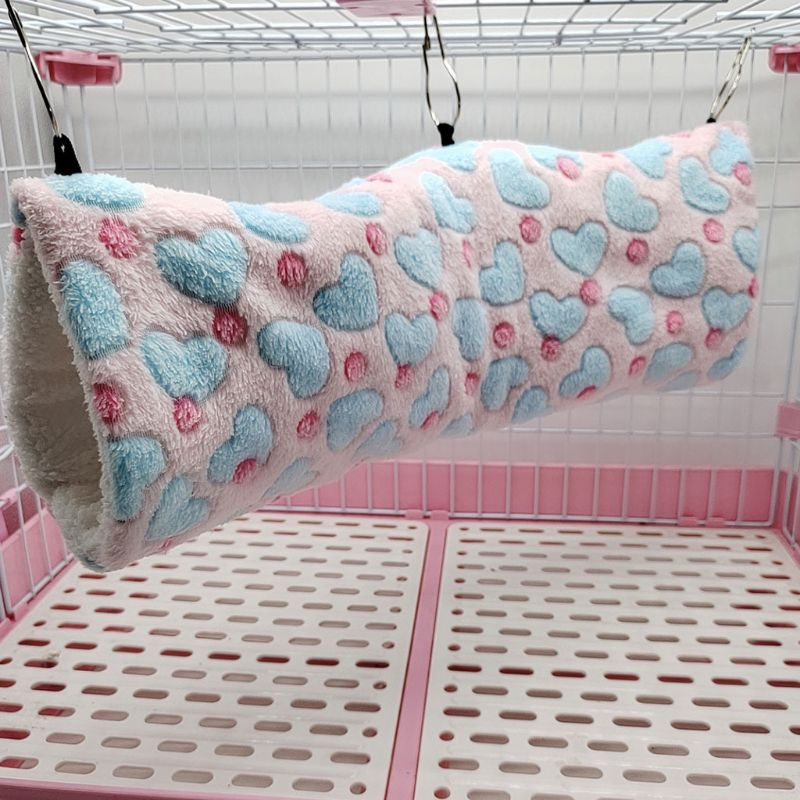 Heart-Pink ELEpure Hanging Tunnel Hammock for Hamster Small Animals Sugar Glider Cage Accessories Bedding Toys for Chinchilla Ferret Squirrel Guinea Pig Rat Playing Sleeping Cotton Warm Nest
