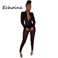 Echoine, сексуальная Женский комплект 2 шт., прозрачная сетка, прозрачные топы, рубашка + длинные штаны, Клубная одежда, Офисная Женская летняя од...