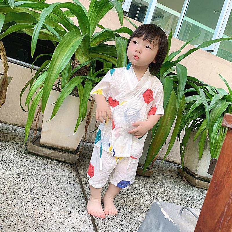 Children/'s pajamas summer kimono pyjamas kids baby lovely cotton and linen cartoon sleepwear boys home sweat steaming bathrobe