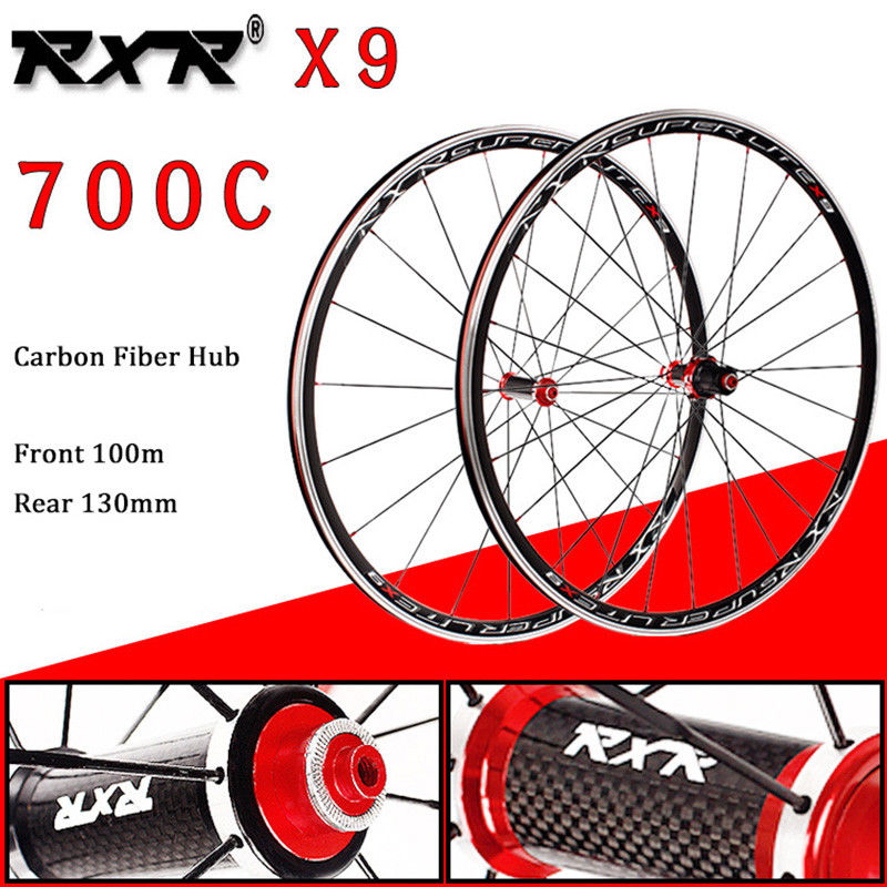 RXR 700C Bike Wheelset Carbon Hub Road Bike Bicycle F&R Wheels Wheelset Clincher Sealed Bearings 7-11 Speed V Brake (1)